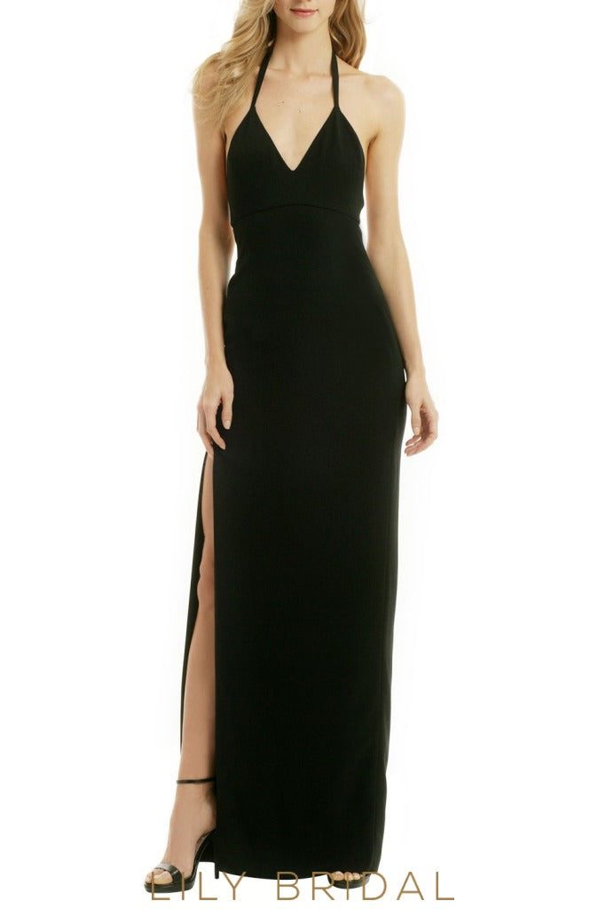 Sexy Sheathe Halter Backless Floor-Length Black Jersey Bridesmaid Dress With Side Slit