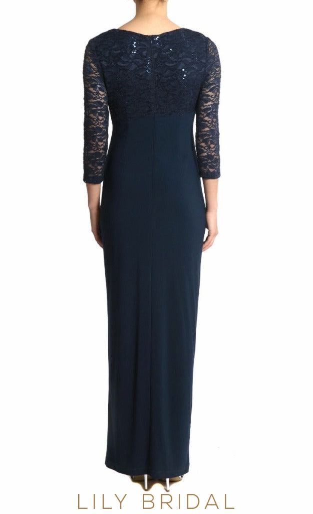 Velvet Lace V-Neck Empire Waist Mother of the Bride Dresses