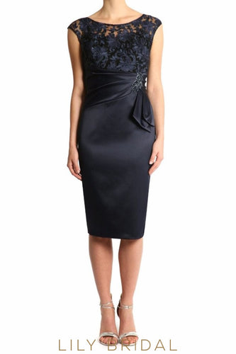 Black Satin Embroidered Sleeveless Empire Waist Sheath Mother of the Bride Dresses