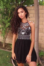 Black Halter Rhinestone Beaded Chiffon Cocktail Dress