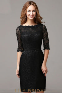 Black Lace Bateau Neckline Sheath Elbow Sleeve Short Cocktail Dress