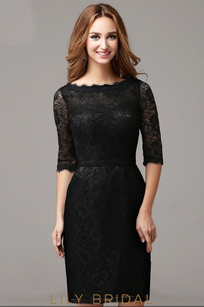 Black Lace Bateau Neckline Sheath Half Sleeve Short Cocktail Dress