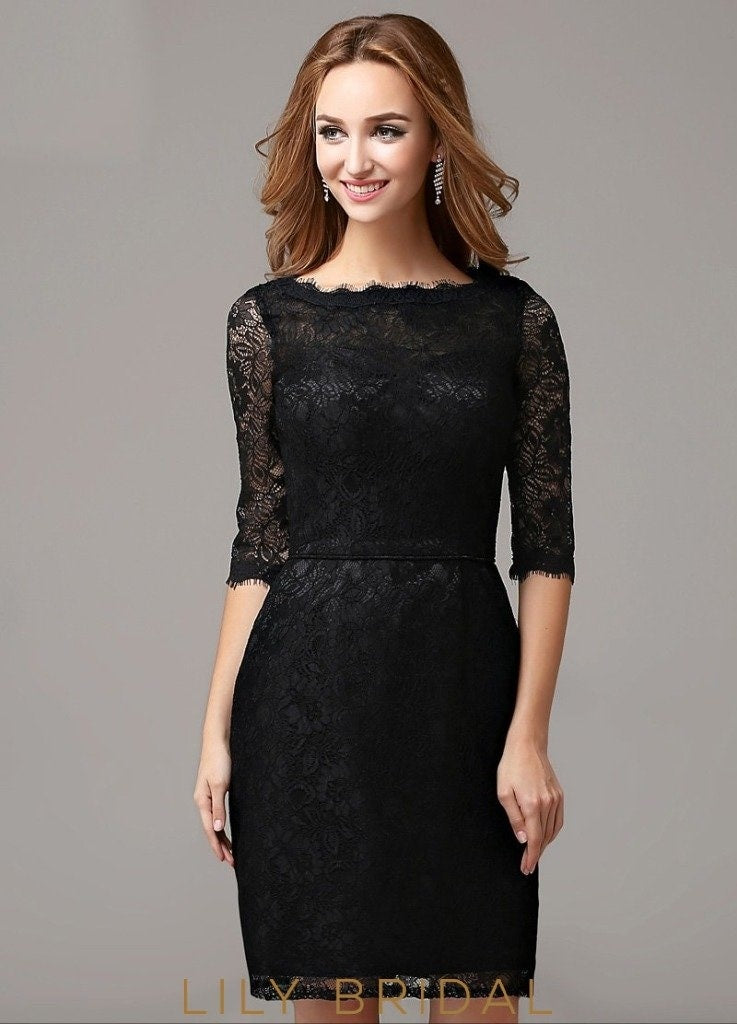 Lace Bateau Neckline Sheath Half Sleeve Short Cocktail Dress