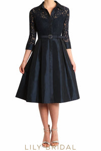 Black Lace Satin Collar 3/4 Sleeve Knee-Length A-Line Mother of the Bride Dress