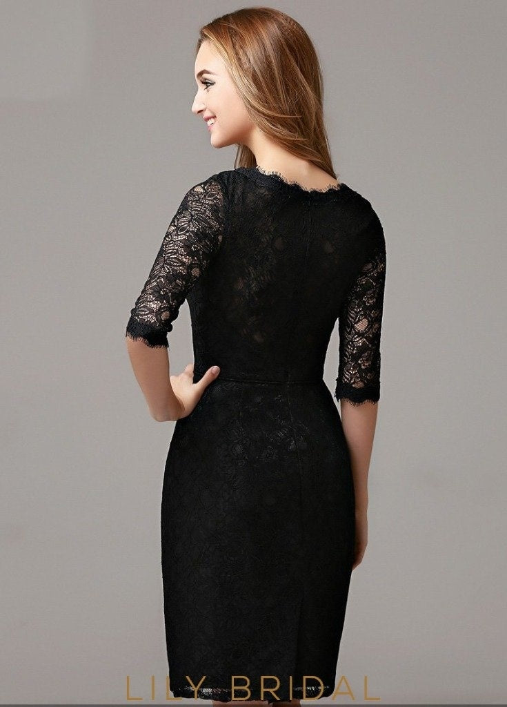 Black Bateau Neckline Sheath Half Sleeve Short Cocktail Dress