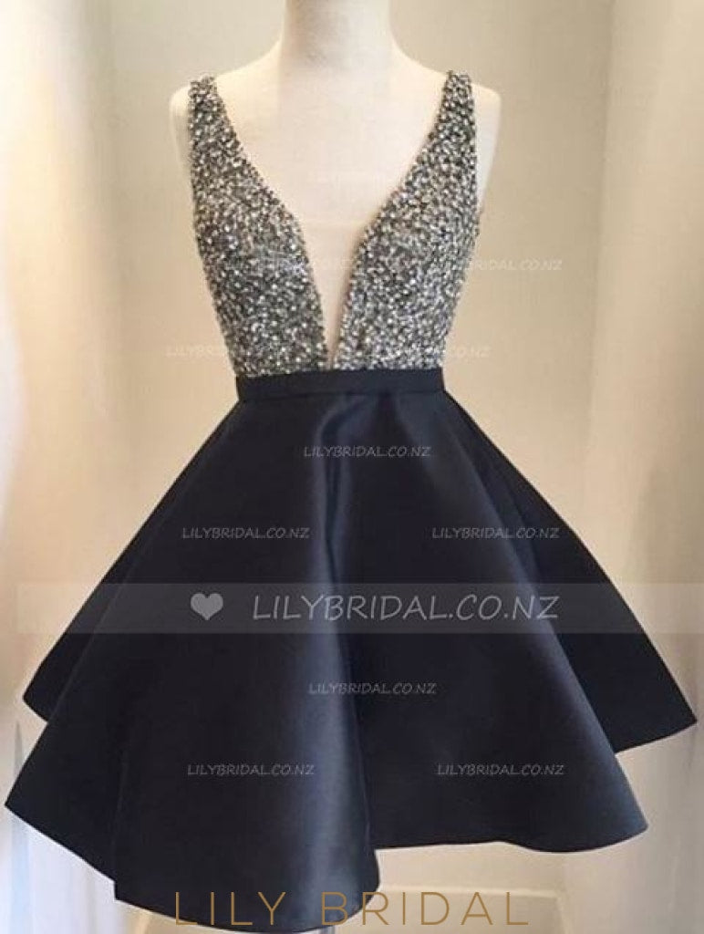 Black Low V-Neck Beaded Satin Cocktail Dress