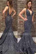 Black Open Back Low V-Neck Side Cut Out Prom Dress With Sequins