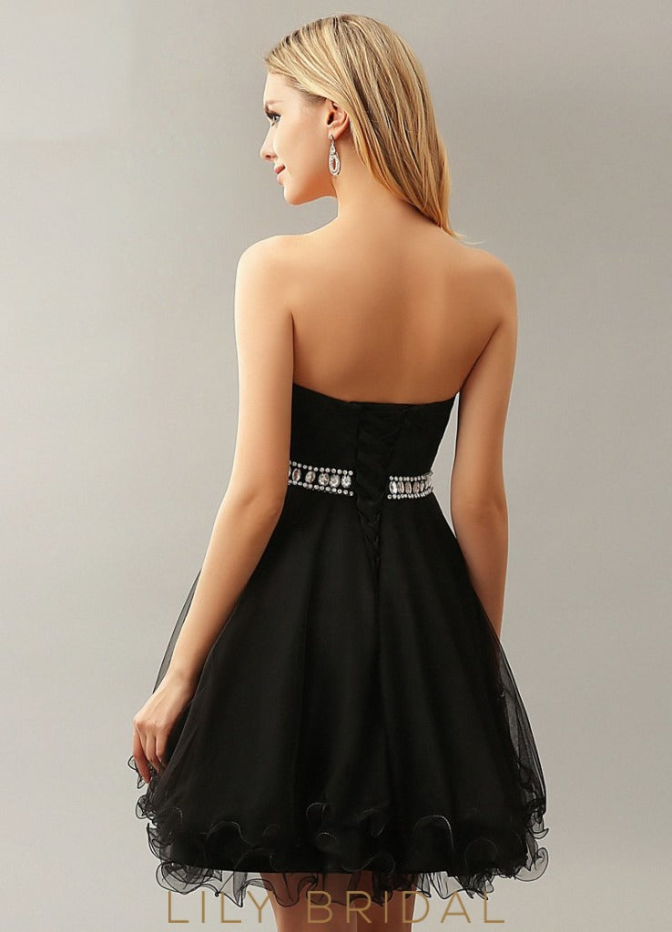 Tulle Sweetheart Strapless A-Line Cocktail Dress with Beaded Belt