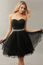 Black Tulle Sweetheart Strapless A-Line Cocktail Dress with Beaded Belt