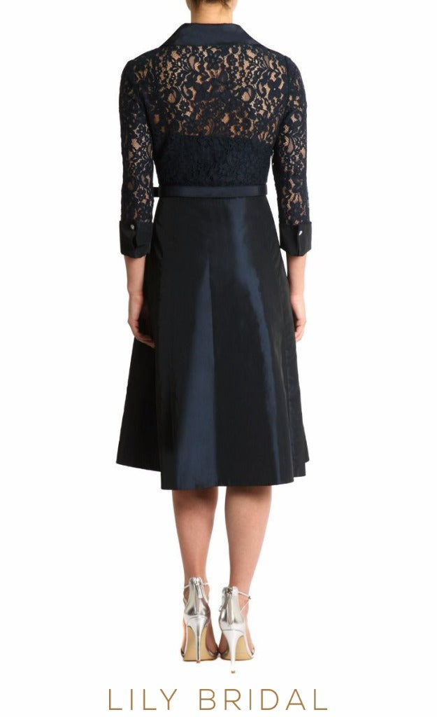 Lace Satin Collar Neck Quarter Sleeves A-Line Mother of the Bride Dresses