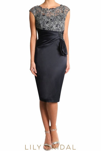 Black Jewel Cap Sleeve Lace Top Sheath Knee-Length Satin Mother of the Bride Dress With Ruching