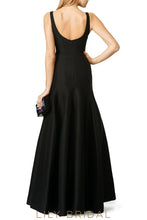Simple Strap Dropped Waist Floor-Length Satin Bridesmaid Dress