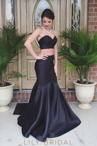 Black Satin Strapless Sweetheart Mermaid Two-Piece Prom Dress