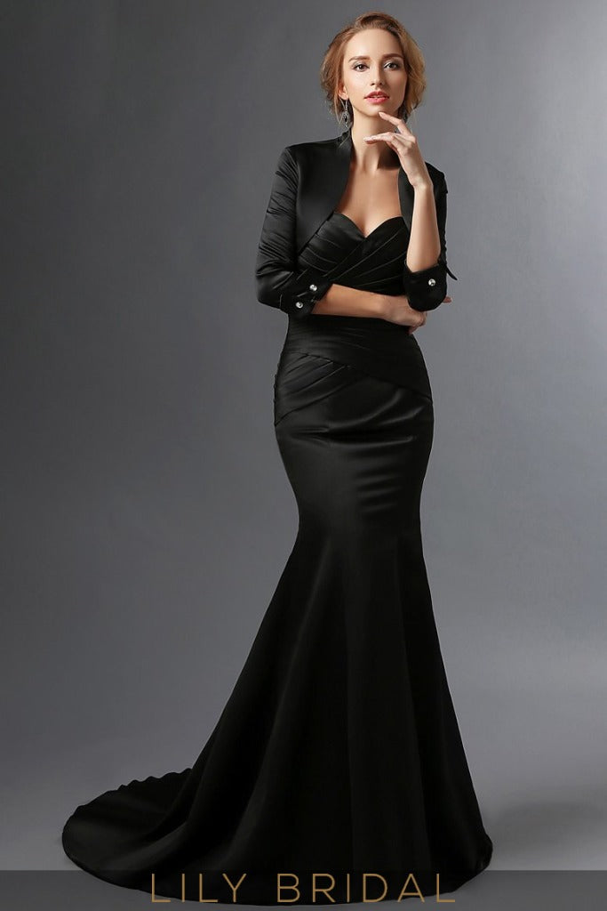 Black Satin Sweetheart Strapless Mermaid Mother of the Bride Dresses