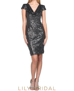 Black Sequin Cap Sleeve Cowl Neck Sheath Mini Cocktail Dress