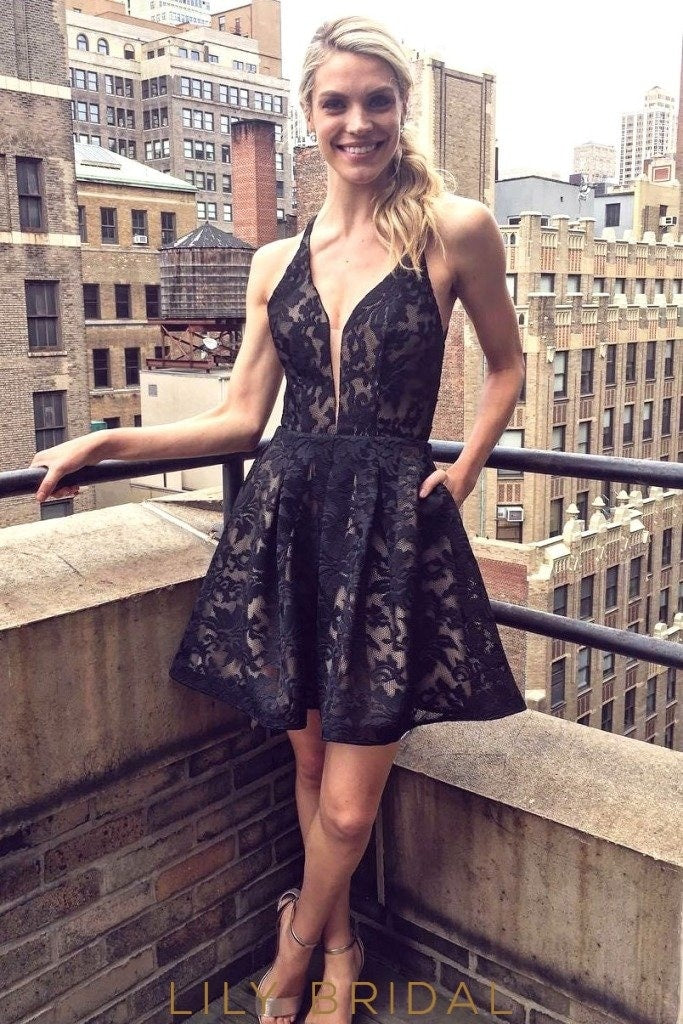 Black Plunging V-Neck Lace-Up Back A-Line Cocktail Dress