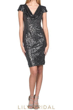 Black Sequined Short Sleeves Short Sheath Mother of the Bride Dress