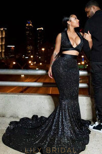 Black Sequin Two-Piece Deep V-Neck Court Train Mermaid Prom Dress