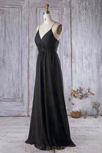 Black Spaghetti Strap V-Neck Chiffon Formal Bridesmaid Dress With Sweep Train