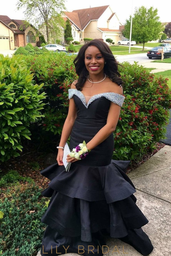 Floor Length Black Tiered Mermaid Satin Prom Dress with Beads Off-the-Shoulder