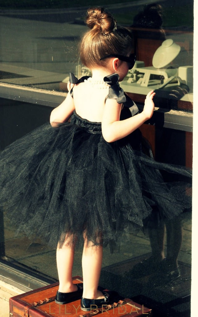 Black Ball-Gown Knee-Length Strap Flower Girl Dress With Sash