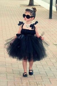 Black Tulle Ball-Gown Knee-Length Strap Flower Girl Dress With Sash