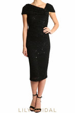 Black Lace Cap Sleeves Sequinned Tea Length Sheath Mother of the Bride Dress