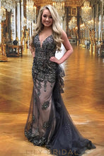 Stormy Tulle V-Neck Sleeveless Mermaid Prom Dress with Beads