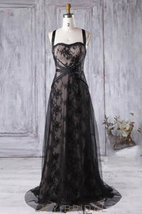 Black Tulle Strap Sweep Train Bridesmaid Dress With Lace Applique