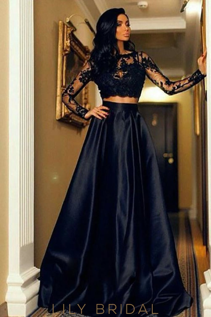 Black Two-Piece Long Sleeves Illusion Neck A-Line Prom Dress