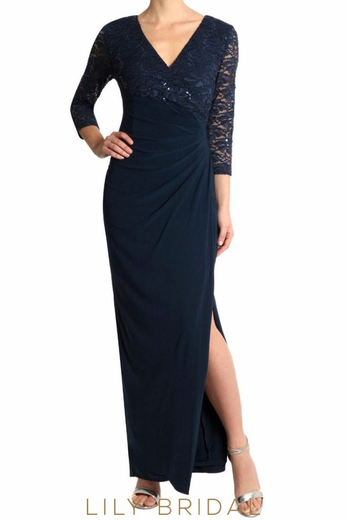 Dark Navy V-Neck 3/4 Sleeve Split Sheath Satin Mother of the Bride Dress With Lace Top