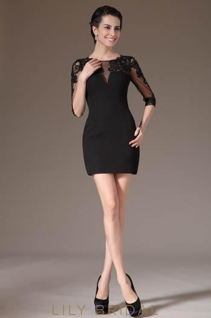 zipper-back-1/2-sleeve-beaded-illusion-cocktail-dress