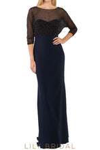 Dark Navy Satin 1/2 Sleeve Column Mother of the Bride Dress With Beads
