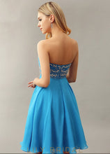 Blue Sweetheart Strapless Empire Waist Short Cocktail Dress