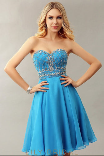 Blue Chiffon Sweetheart Strapless Empire Waist Short Cocktail Dress