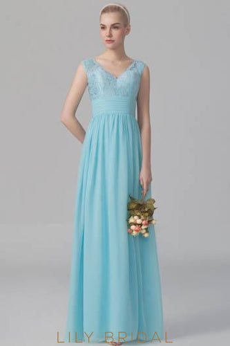 Blue Empire Waist Pleated Floor-Length Chiffon Lace Bridesmaid Dress With V-Neck