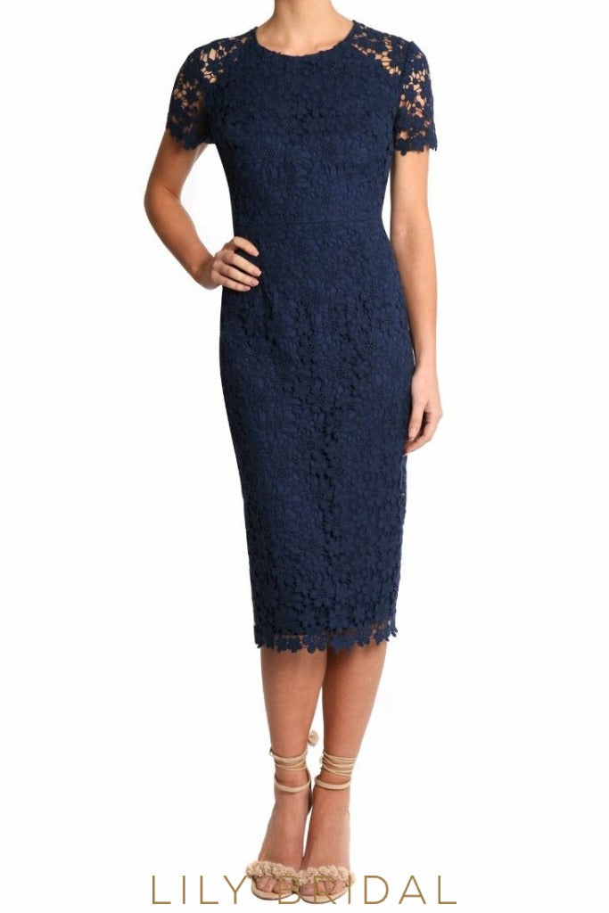 Navy Lace Jewel Neck Illusion Sleeve Tea Length Mother of the Bride Dress