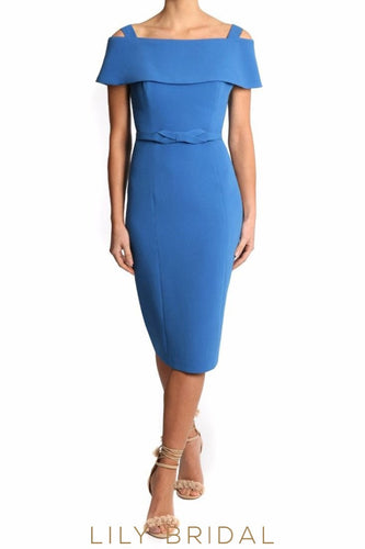 Blue Neoprene Strapped Sleeves Tea Length Mother of the Bride Dresses