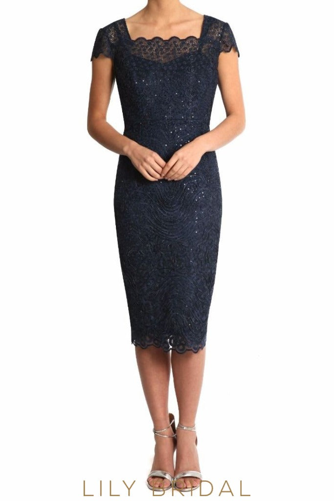 Dark Navy Lace Short Sleeves Tea Length Sheath Mother of the Bride Dress