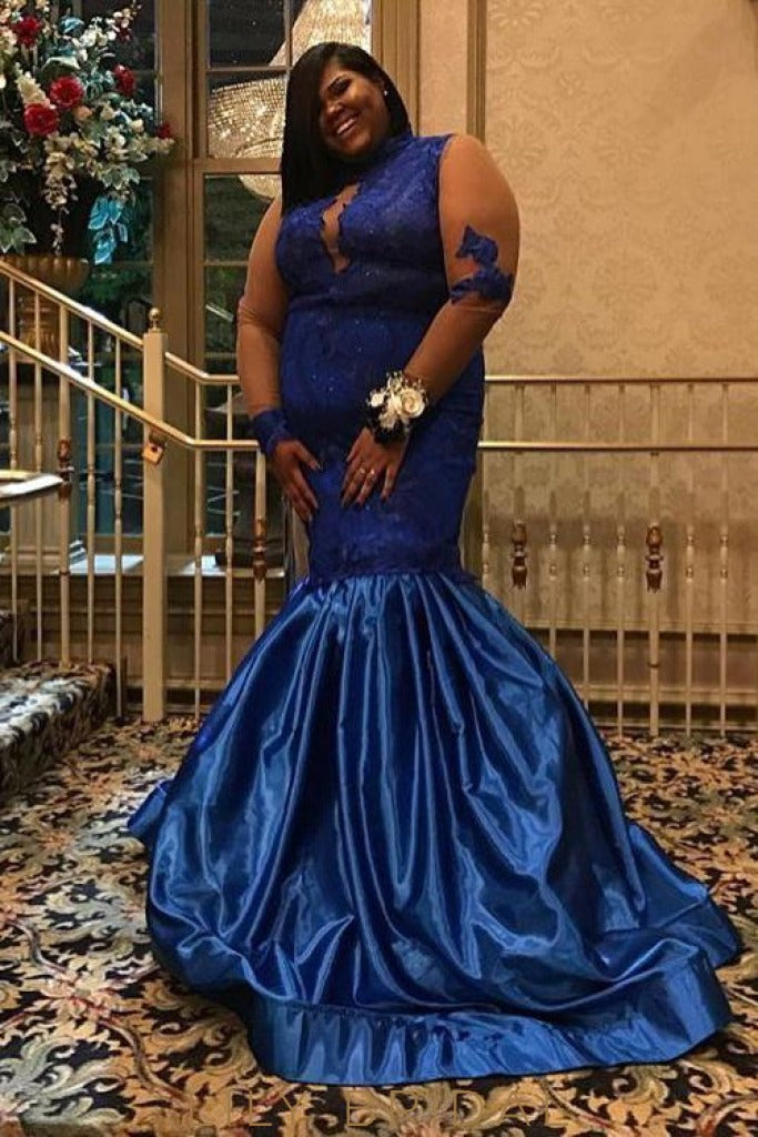 4dc83a4f6c5 Royal Blue Taffeta Lace High Neck Long Sleeve Plus Size Mermaid Prom Dress