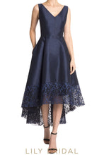 Blue Satin V-Neckline Sleeveless A-Line Mother of the Bride Dresses