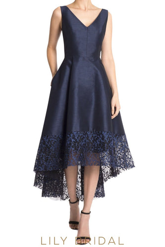 Dark Navy Satin V-Neckline Sleeveless A-Line Asymmetrical Mother of the Bride Dress