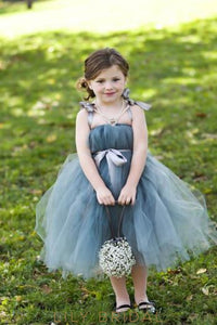 Blue Strap Straight Across Neckline Tea-Length Tulle Flower Girl Dress With Sash