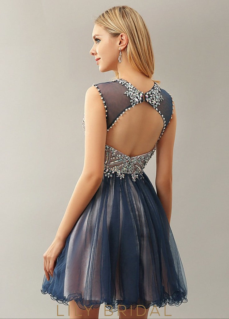 Tulle Satin Sweetheart Illusion Sleeveless A-Line Short Cocktail Dress