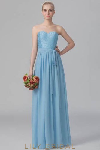Blue Sweetheart Strapless Floor-Length Pleated Chiffon Bridesmaid Dress With Sash & Lace Bodice