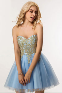 Blue Tulle A-Line Strapless Sweetheart Backless Short Prom Dress