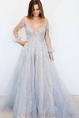 Blue Tulle Ball Gown Long Sleeves Plunging V-Neckline Wedding Dress