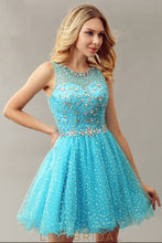 Blue Tulle Jewel Neckline Illusion Sleeveless Short Cocktail Dress