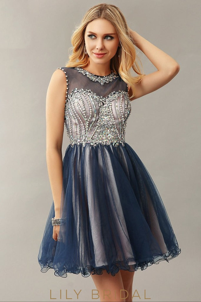Blue Tulle Satin Sweetheart Illusion Sleeveless A-Line Short Cocktail Dress