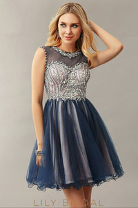 Navy Tulle Sweetheart Illusion Sleeveless A-Line Beaded Cocktail Dress